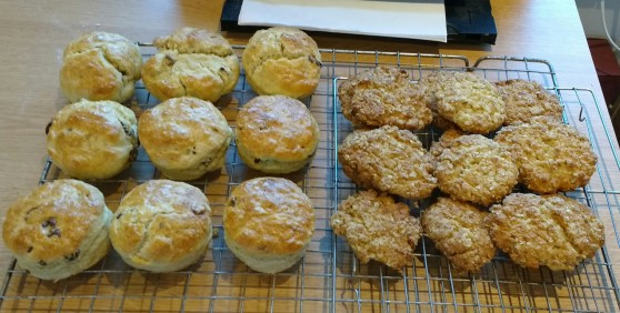 Fruit scones and Anzac biscuits