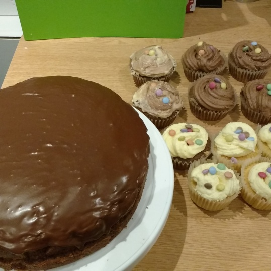 Chocolate fudge cake, and random Cupcakes