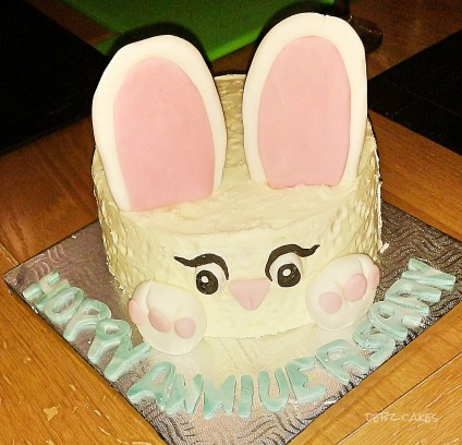 Hoppy Anniversary cake with oversized ears!